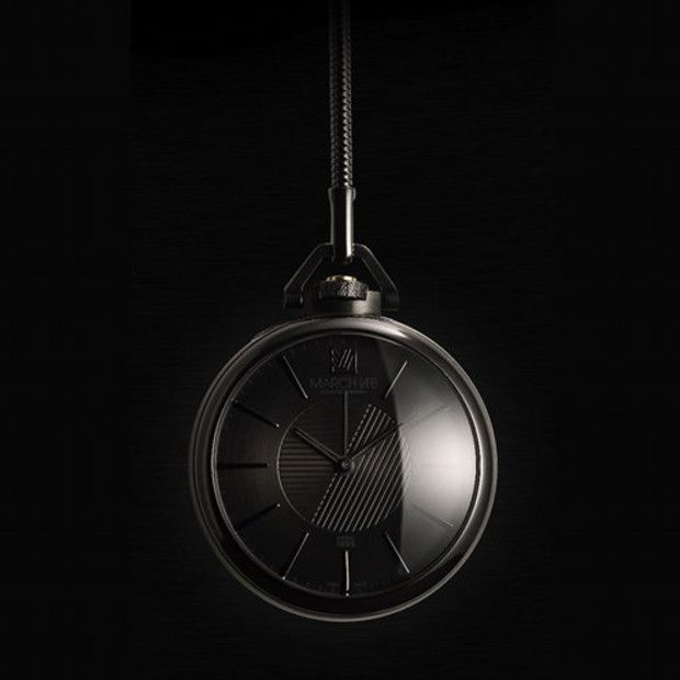 Murdered out black pocket watch by March LAB