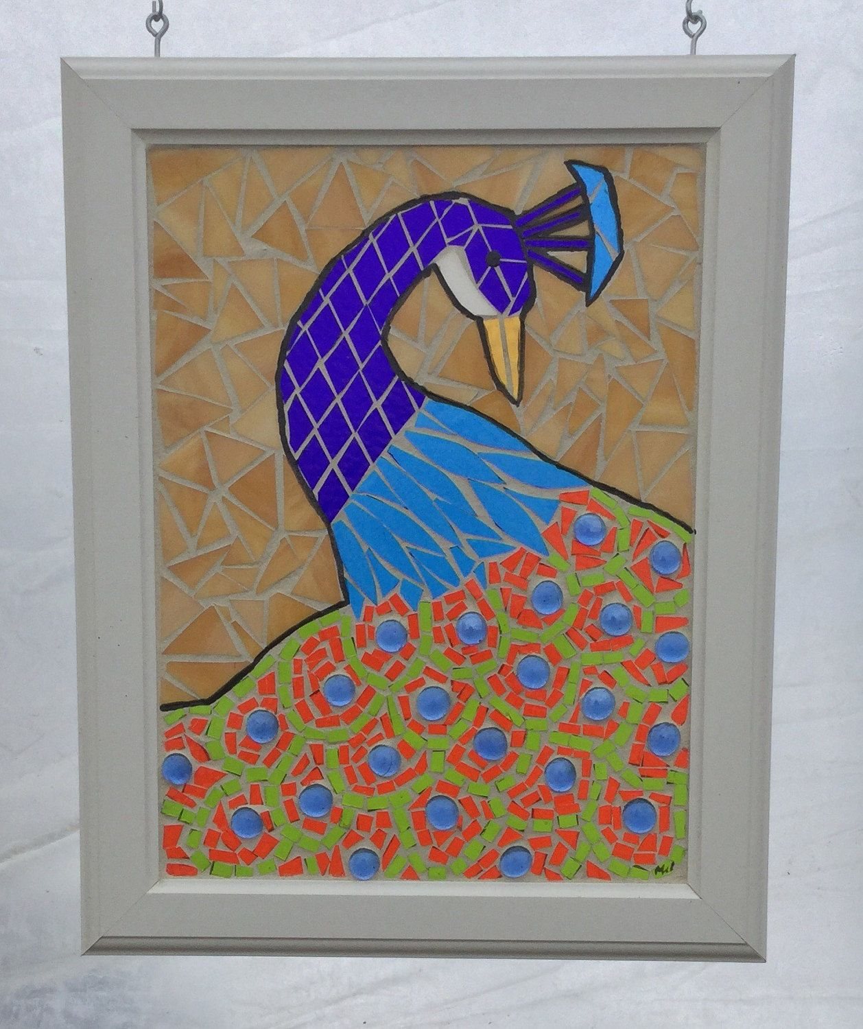 Home decor art  Stained Glass Peacock mosaic panel  Art Nouveau Peacock Stained