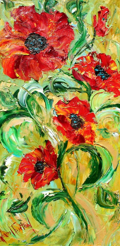 Red Poppy Flowers oil painting by Karen Flower painting