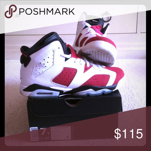 Jordan 6s retro carmine Gently worn great condition. Original box Air Jordan Shoes Sneakers