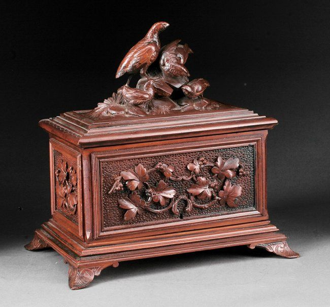 A Continental Black Forest Carved Walnut Humidor On Victorian Era