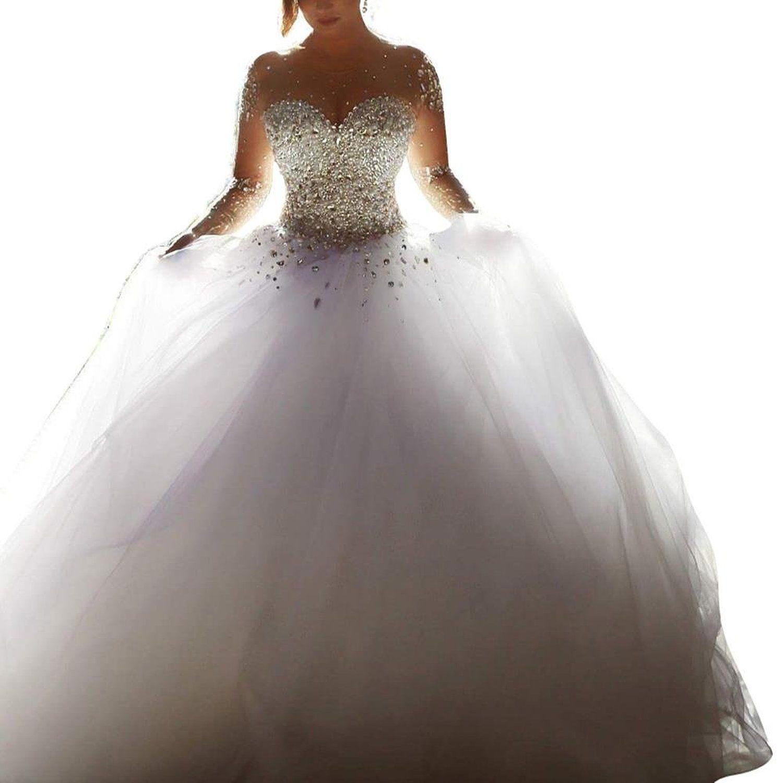 Sehr schickes Hochzeitskleid - Damen Kristall Perlen Prinzessin ...