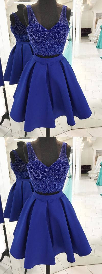 2391fb0406a Luxurious A-Line Two-Piece V-Neck Royal Blue Satin Short Homecoming ...