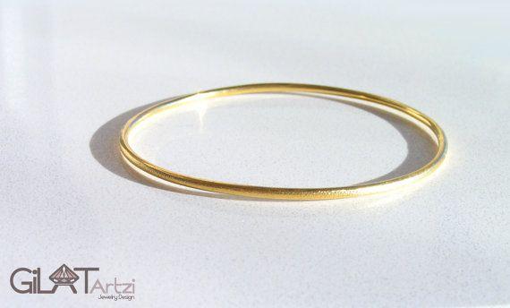 Christmas 14k Solid Gold Bangle Bracelet By Gilatartzi