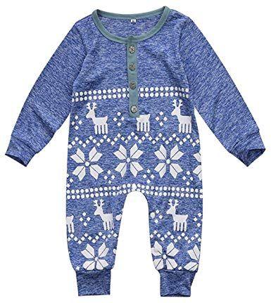 b19a86823 Amazon.com: Mini honey Baby Girl Boy Christmas Romper Long Sleeve ...