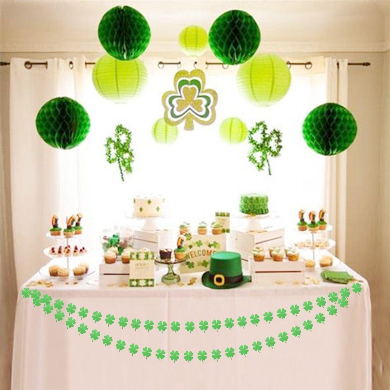 green shamrock garland bunting st patricks. Black Bedroom Furniture Sets. Home Design Ideas