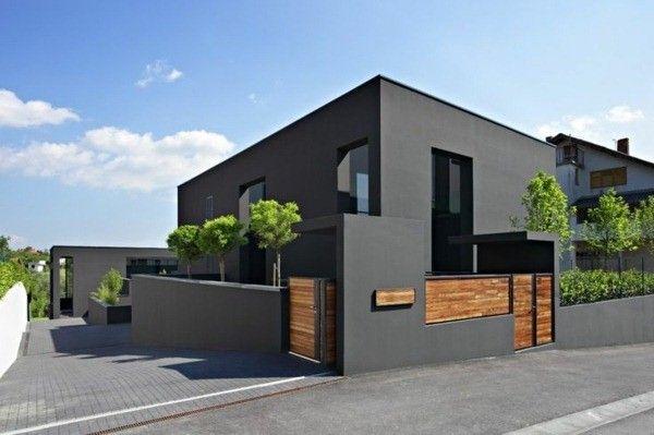 arbres de façade extérieure gris | Maison | Arkitektur et Huse