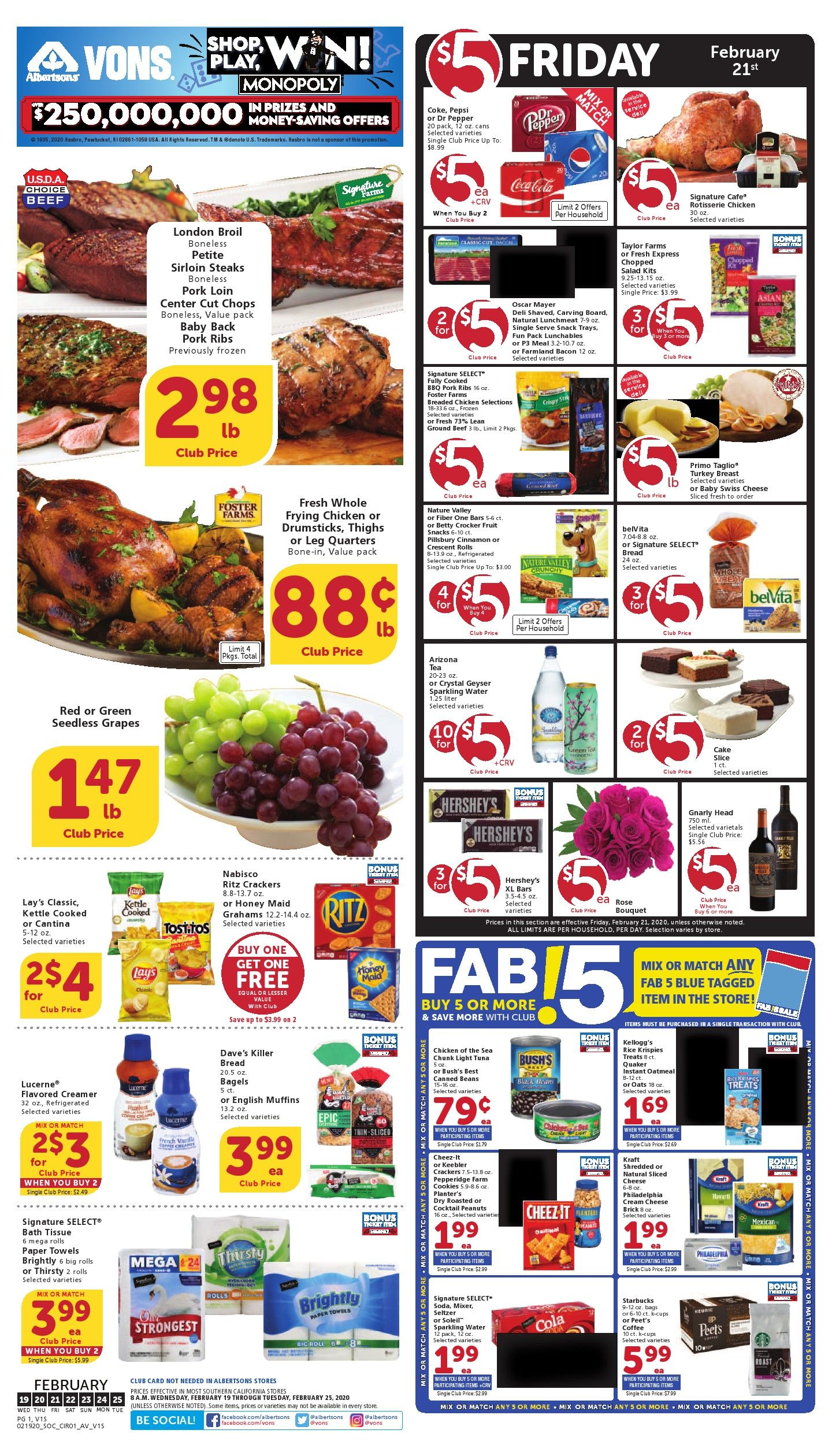 Vons Weekly Ad Flyer 02/26/20 03/03/20 Weekly ads, Ads
