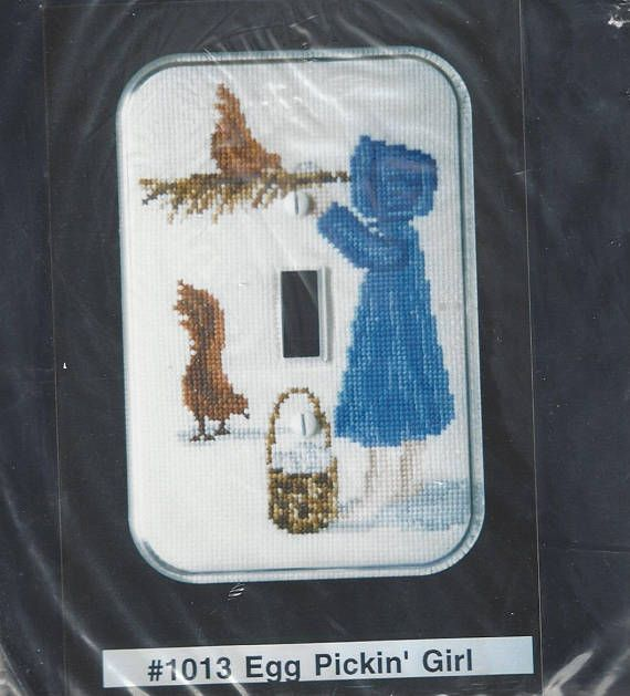 Egg Pickin Girl Counted Cross Stitch Light Switch Cover Kit Great