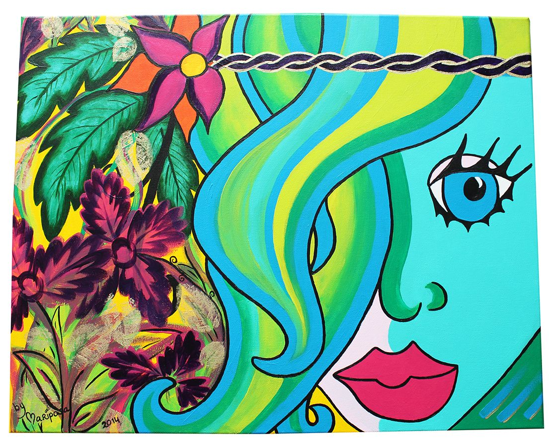 One of my first paintings: Miss Flora! (acryl on canvas 40 X 50 cm) by Mariposa 2014
