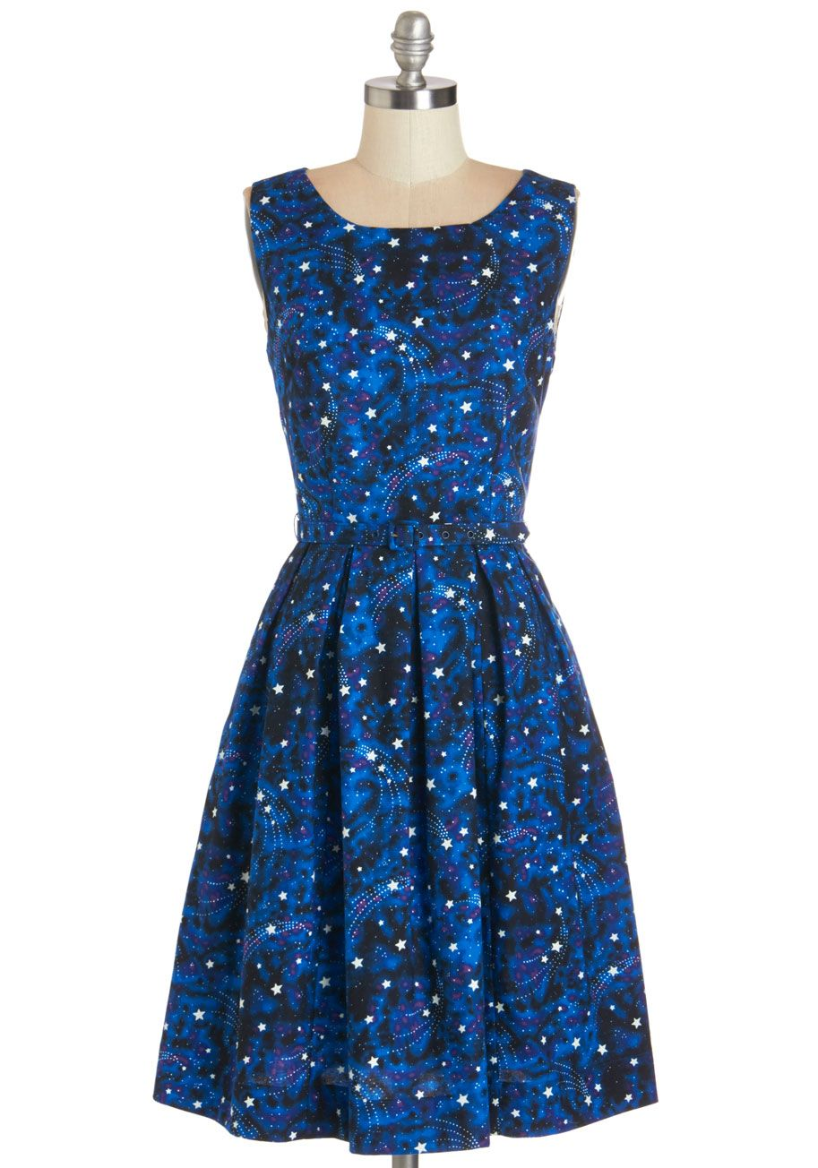 51aed52bc184 Glow forth and conquer in this gorg galaxy print dress