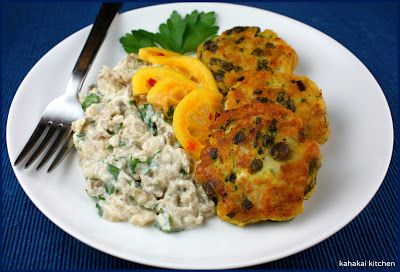 Fish and Caper Patties with Burnt Eggplant & Lemon Pickle