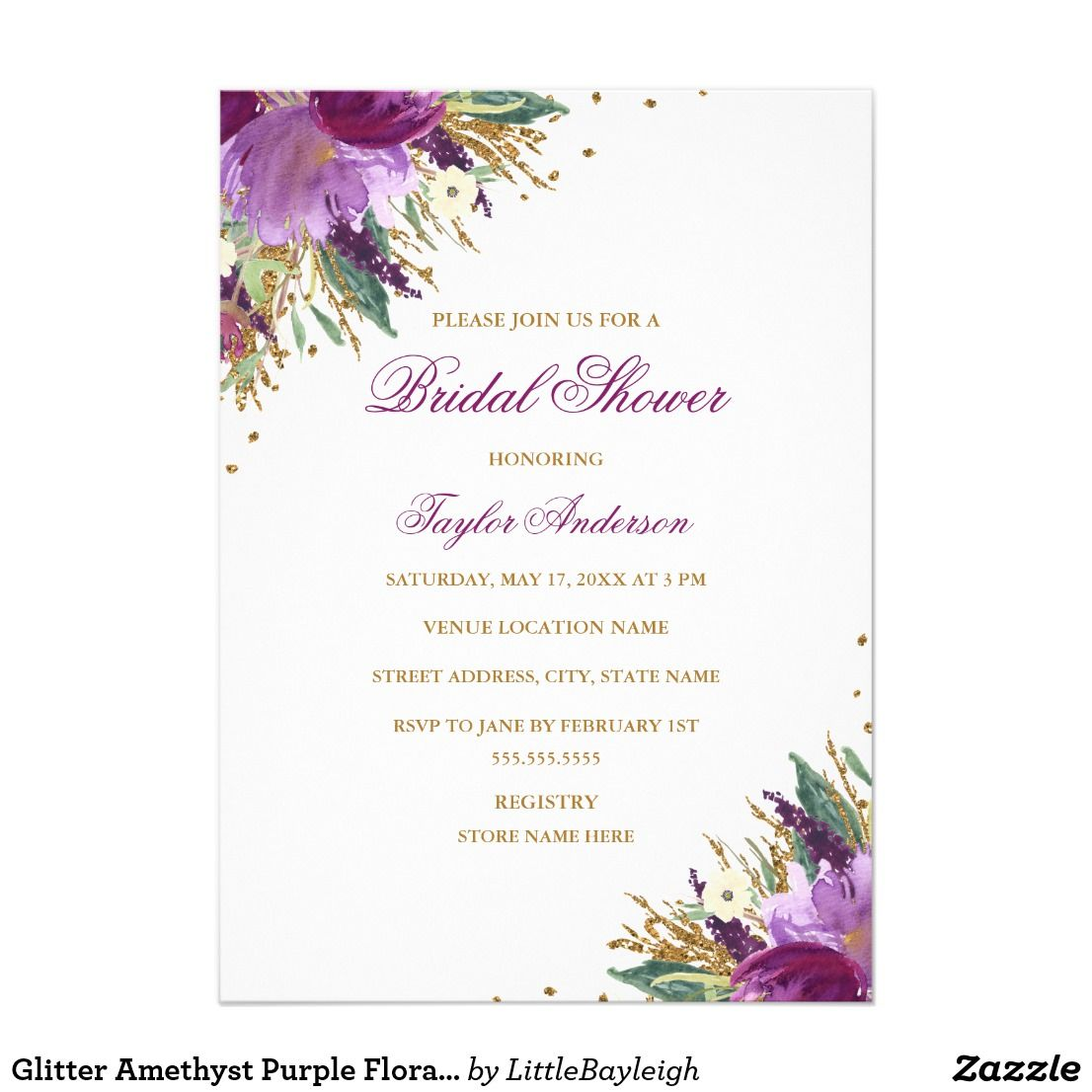 Glitter Amethyst Purple Floral Bridal Shower Card Bridal Shower