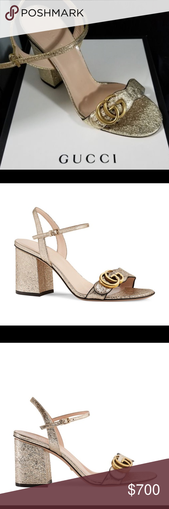 646fdcee2e57 Gucci women s Marmont metallic open toe Sandals Brand new in box! Comes  with original dust bag Metallic leather sandal with black piping and  gold-tone ...