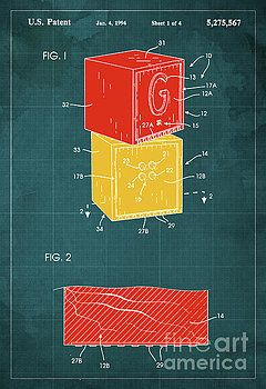 Toy Building Brick Patent Year 1958 Blueprint by Pablo Franchi