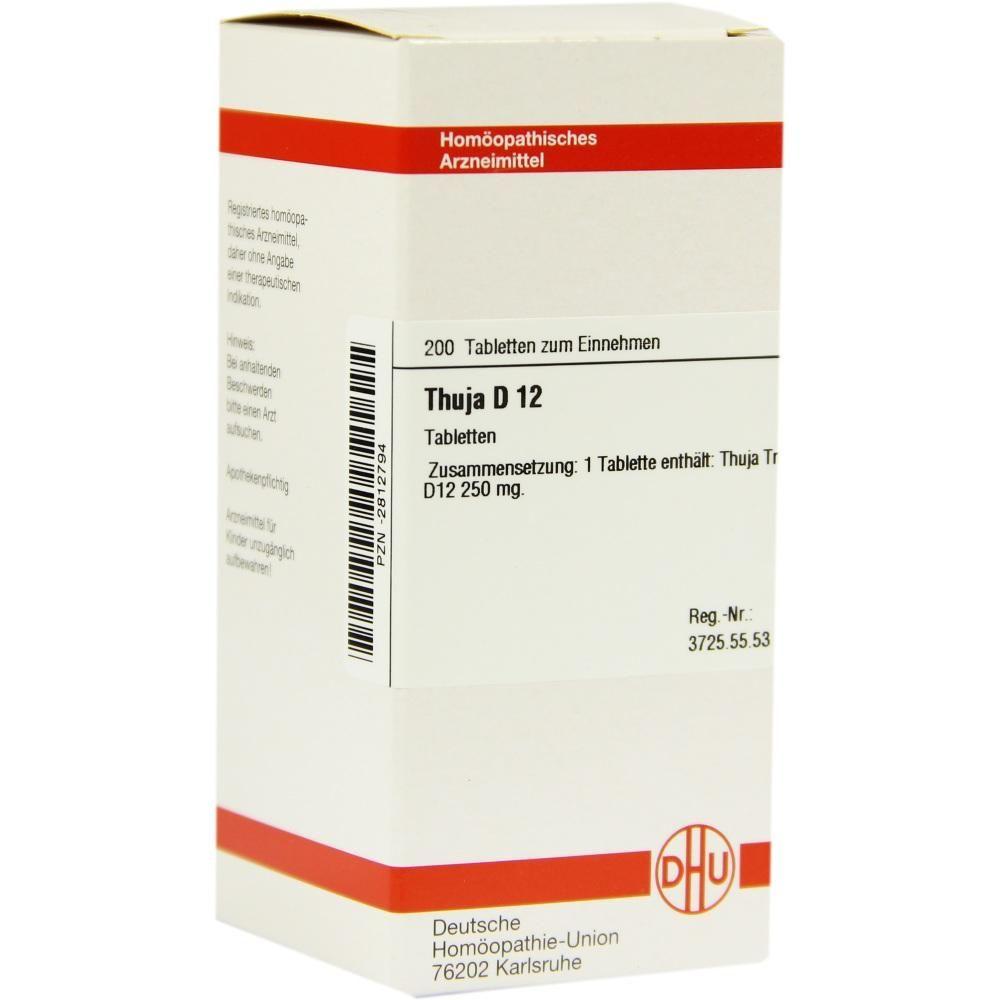 THUJA D 12 Tabletten Packungsinhalt 200 St Tabletten PZN