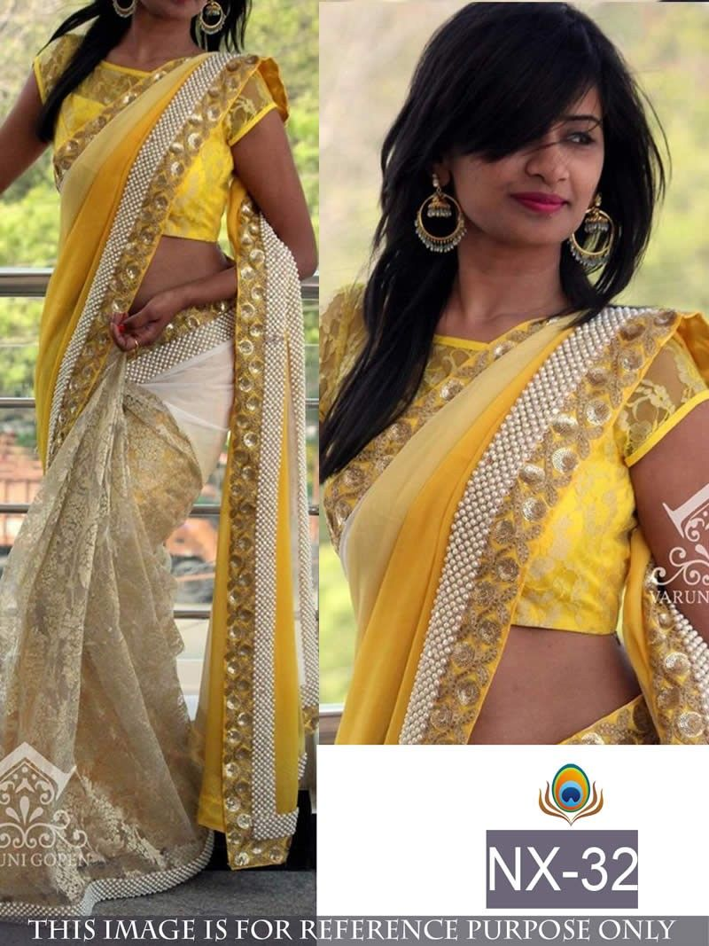 Yellow colour saree images bollywood inspired yellow colour georgettenet party wear saree buy