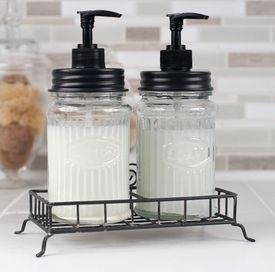 Hoosier Glass Soap Lotion Dispensers With Wire Caddies Set Of 2