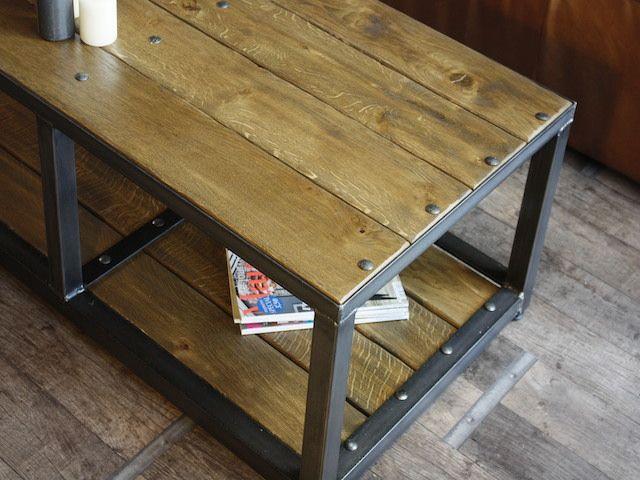 Petite Table Basse Métal Et Bois Sur Mesure Micheli Design