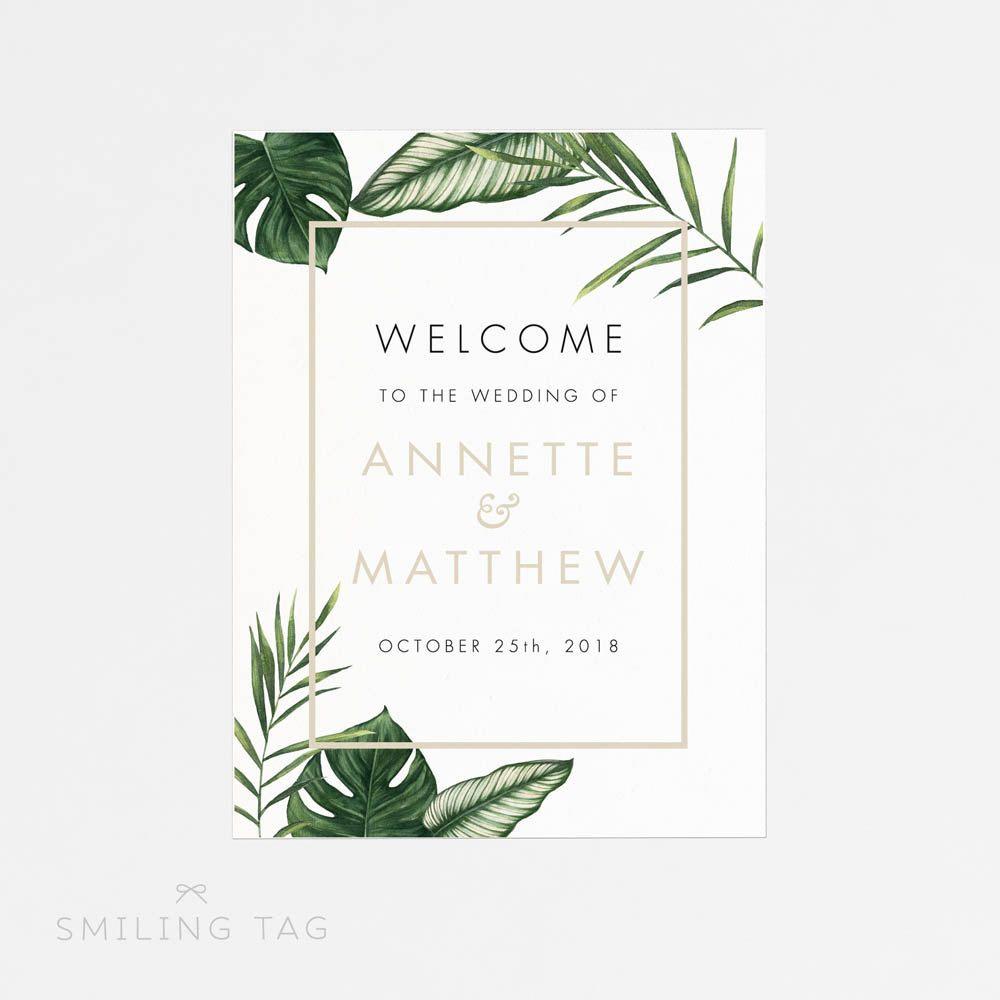 Affiche imprimable de signe de bienvenue moderne Tropical Foliage Mariage Welcome Sign-Wedding Réception Signe imprimable Signe de mariage – (Code darticle : P408)