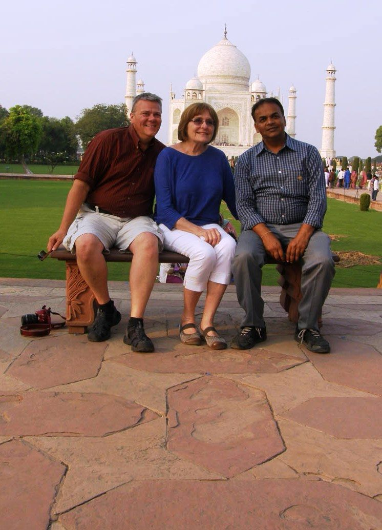 Jim and our guide Govind in front of the Taj Mahal. Look at the pattern in the walkway.