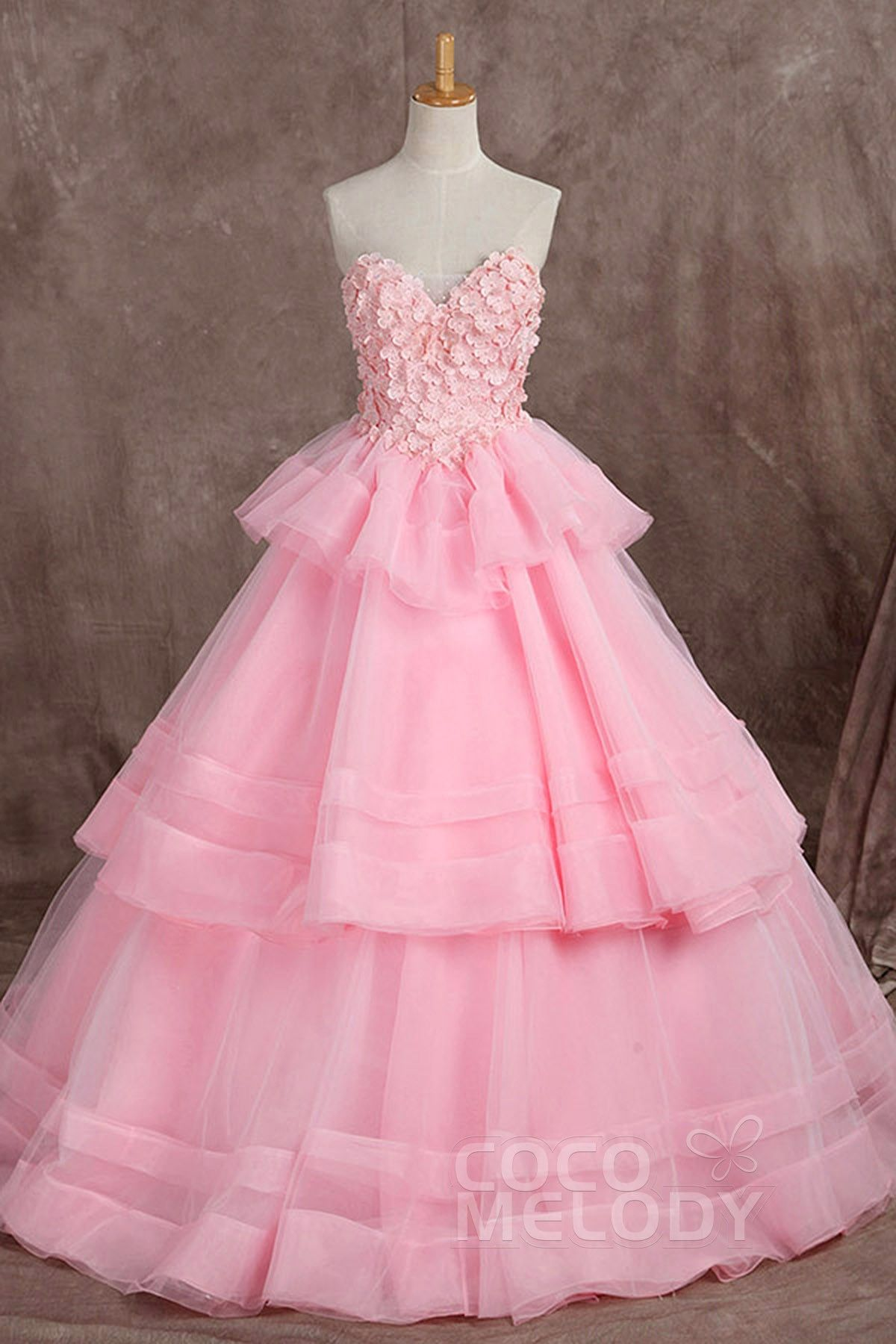 Pretty A-Line Sweetheart Natural Floor Length Organza Veiled Rose ...