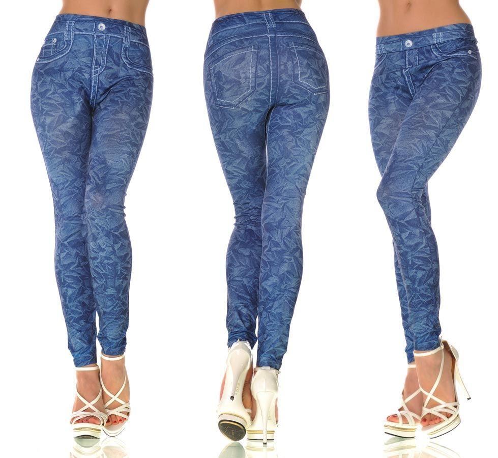 legging femme bleu effet jean delave avec motifs fashion et tendance par. Black Bedroom Furniture Sets. Home Design Ideas
