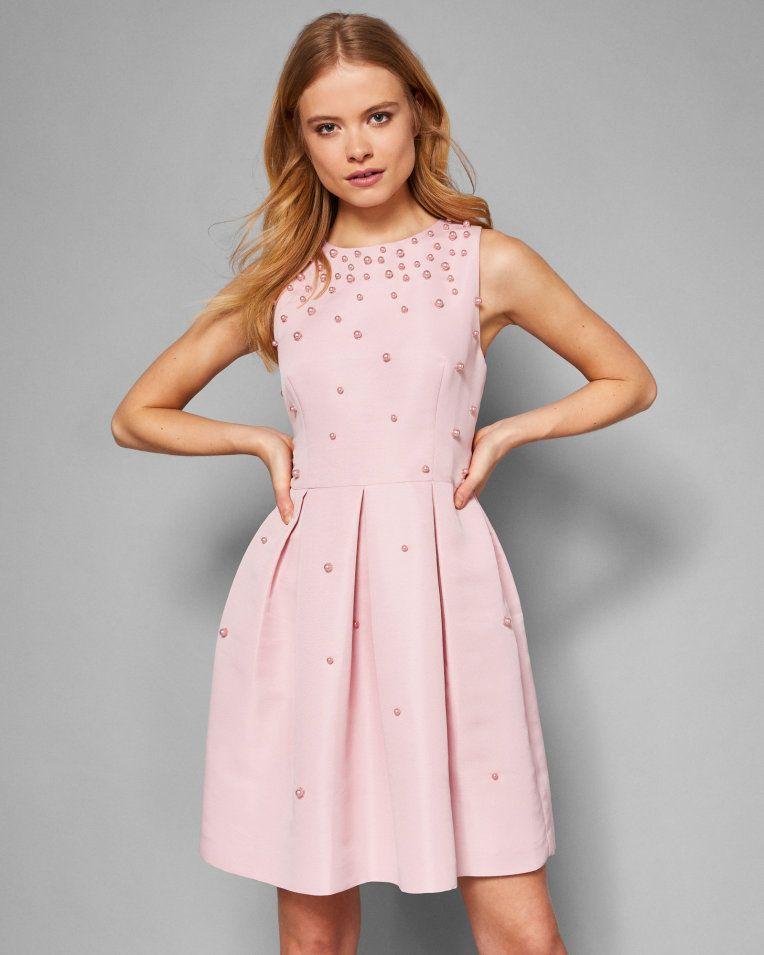 100c3ec1 Pearl embellished skater dress - Baby Pink | Dresses | Ted Baker ...