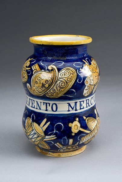 File:Albarello pharmacy jar for mercury ointment, Italy, 1520-156 Wellcome L0057161.jpg