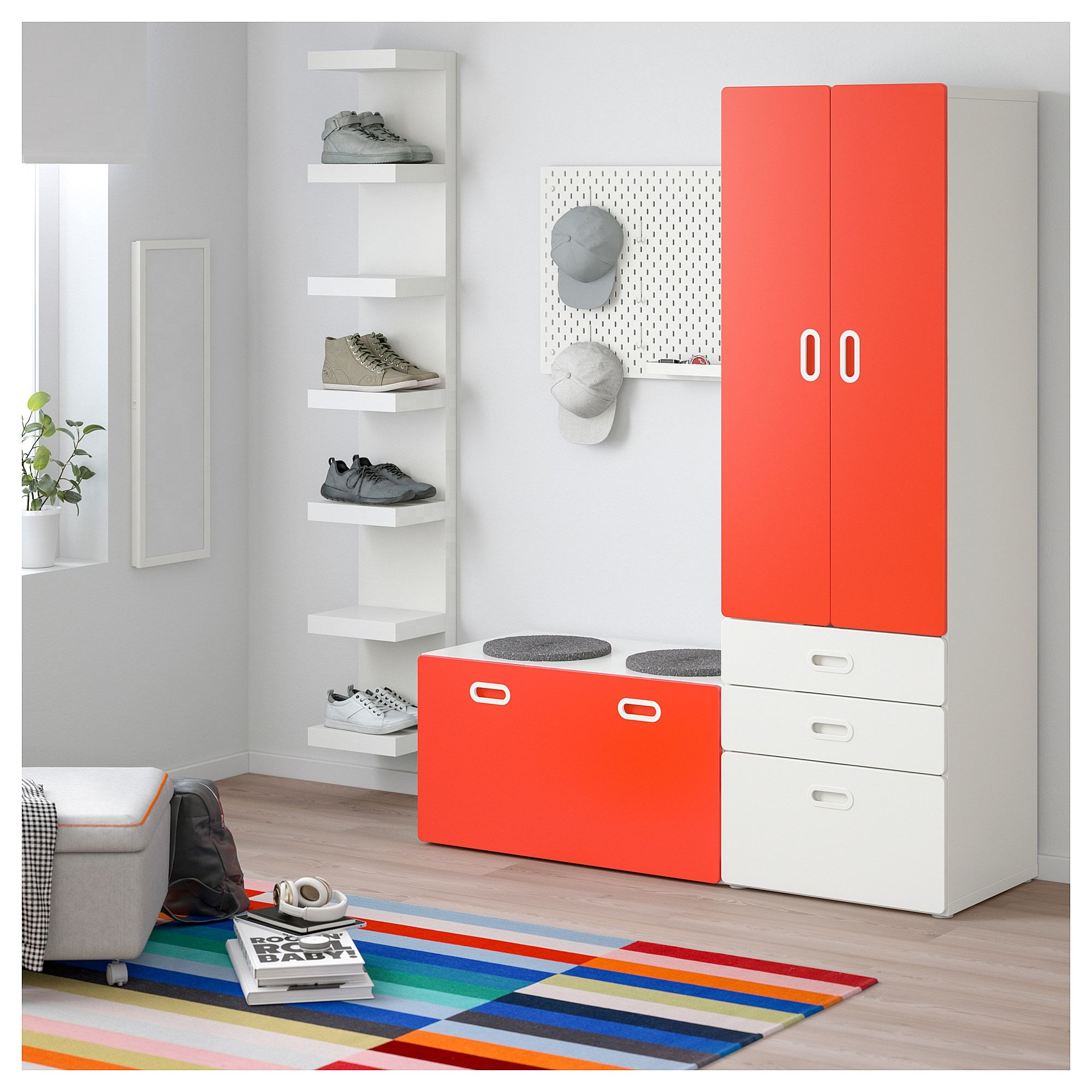 Wardrobe With Storage Bench Stuva Fritids White Red In