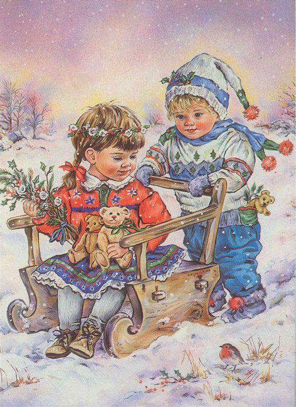 Старые открытки с детьми зимой