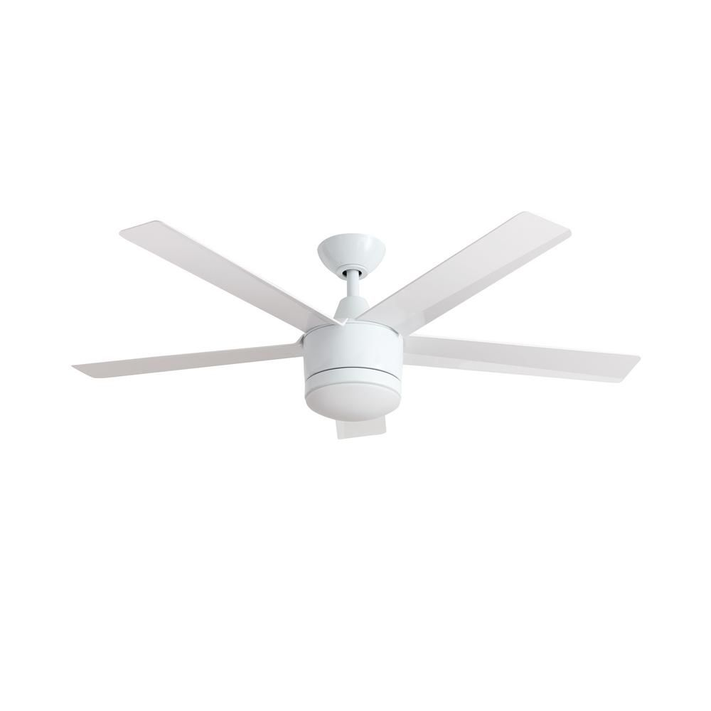 Home Decorators Collection Merwry 52 In Led White Ceiling Fan White Ceiling Fan Ceiling Fans Without Lights Ceiling Fan