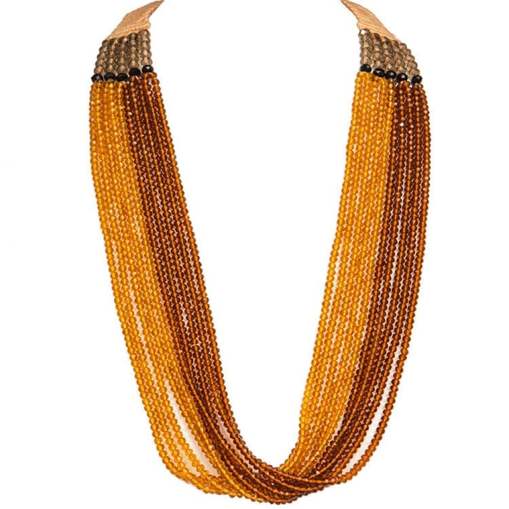 Brown and mustard six crystal strings necklace necklace