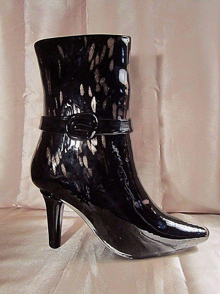 HEAVY MURANO STYLE GL BOOT VASE - Black Gl w/Metallic Gold ... on black no, black pl, black gi, black ve, black sl,