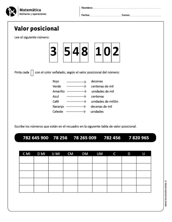 Valor posicional | Preescolar | Pinterest | Cálculo mental, Cálculo ...