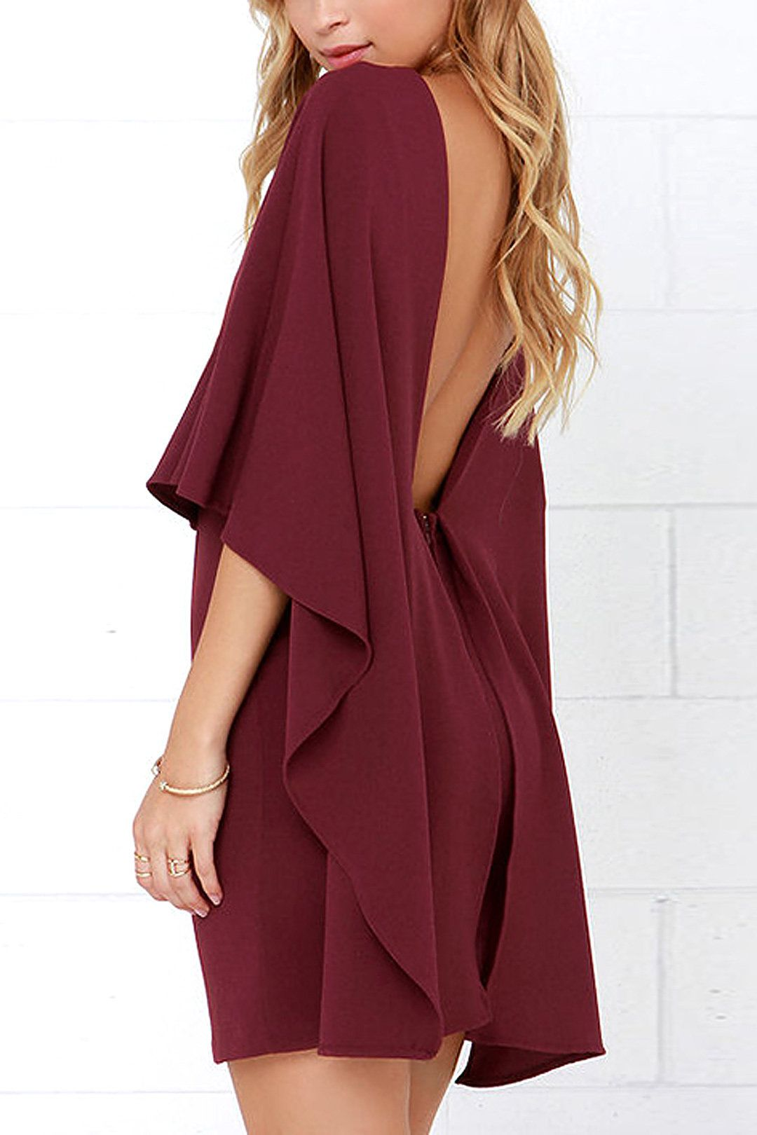 Cape backless dress in burgundy us my style pinterest