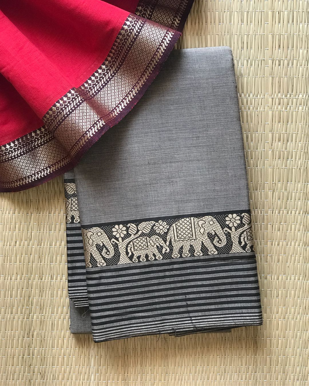 5c88fedef2 Booked Chettinad Cotton// Elephant Grey with Elephant Ramping*Border !  Paired up with Mangalgiri cotton blouse piece one meter. DM…