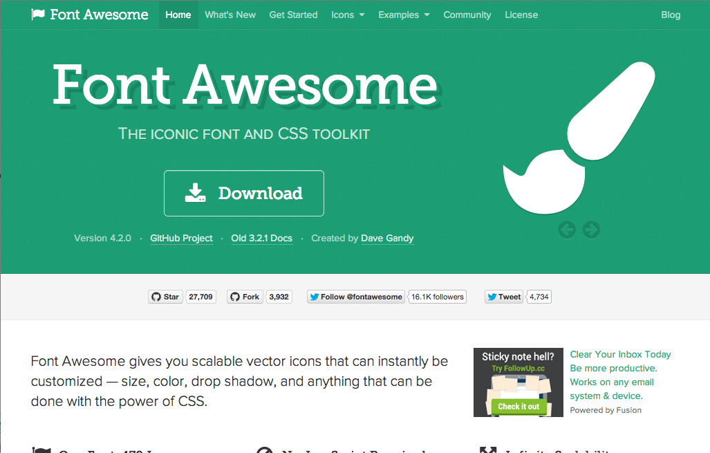 Font Awesome is great, so many icons to use!! => Font