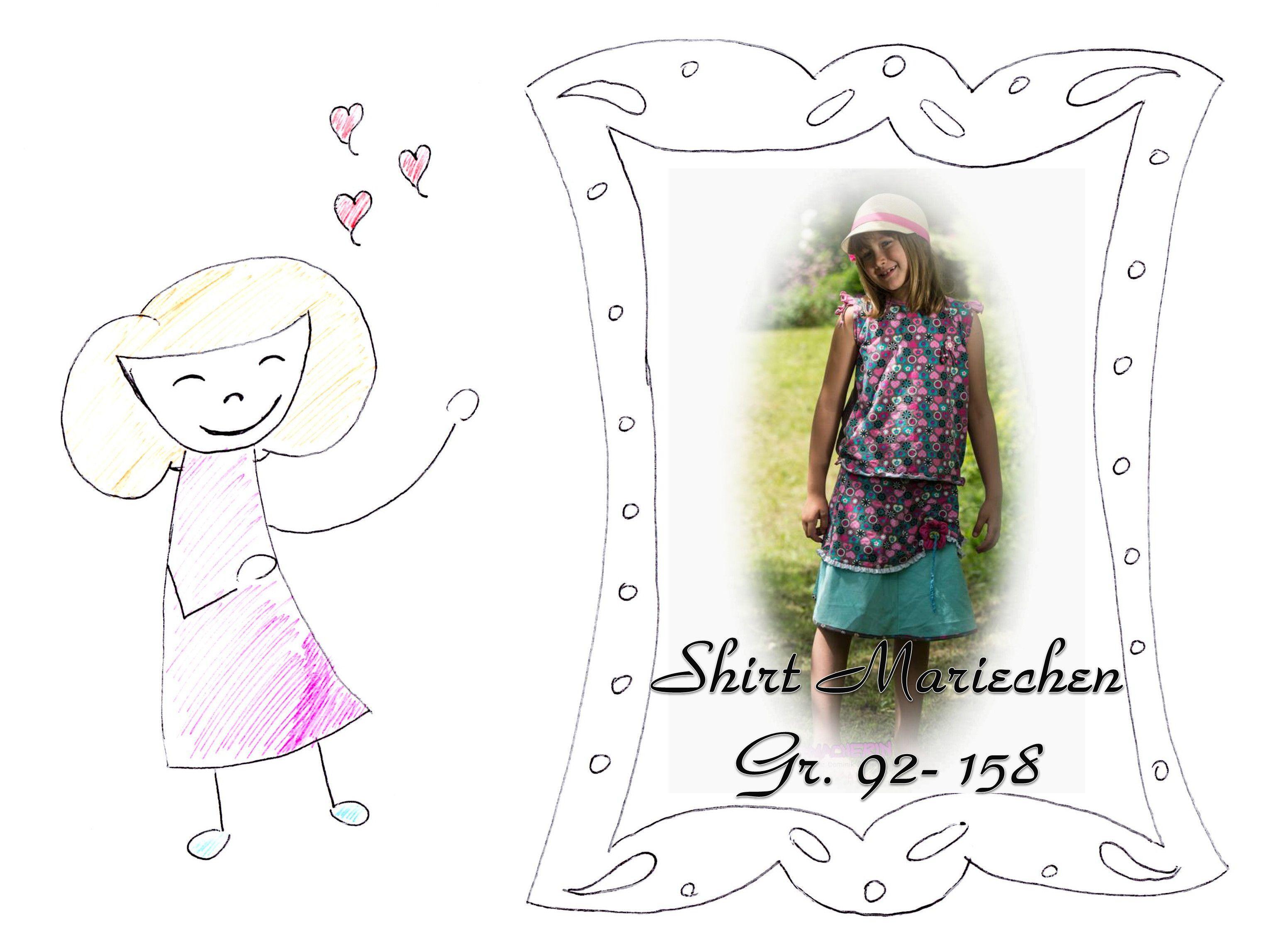 Freebook – Shirt Mariechen, 92-158 | Mädchen Oberteile / Tops ...