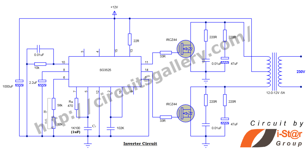 12v to 230v Inverter Circuit using PWM IC SG3525 | 12v