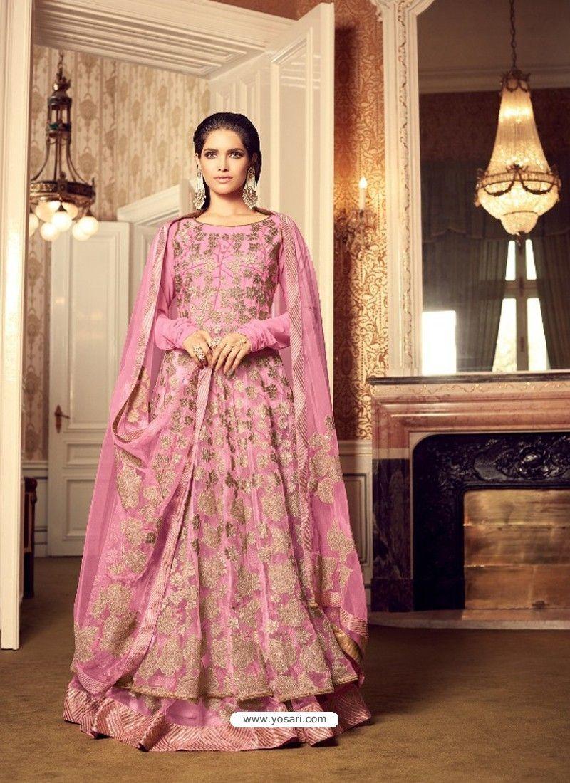 Designer pink embroidered anarkali salwar suit bridal wear
