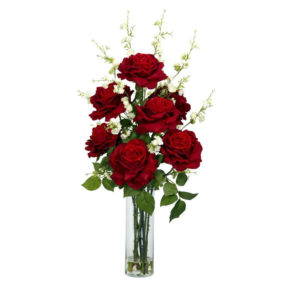 Nearly Natural 29 In H Red Roses With Cherry Blossoms Silk Flower Arrangement 1203 Rose Flower Arrangements Fake Flower Arrangements Red Flower Arrangements