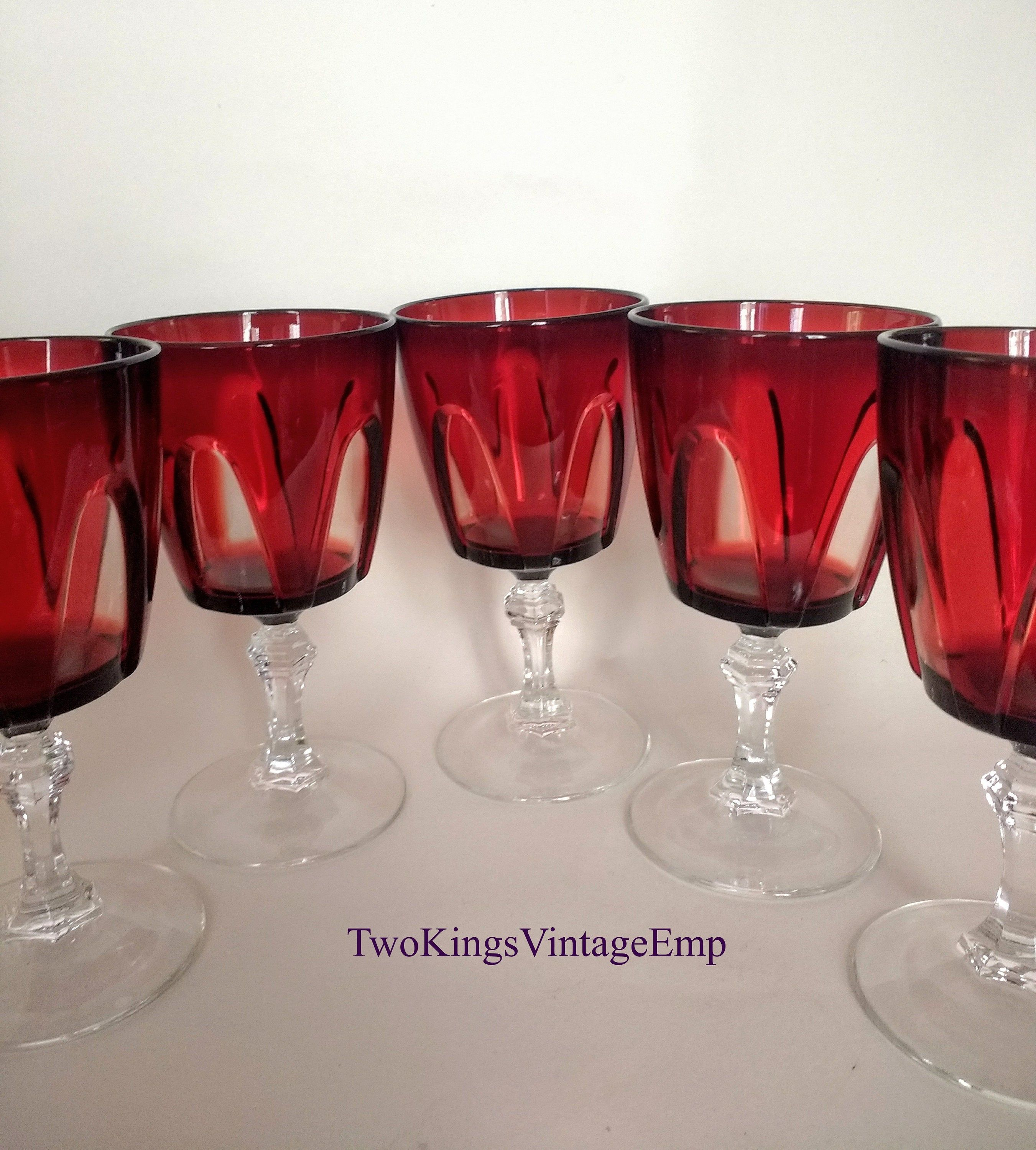Cristal D Arques Ruby Glass Wine Glasses A Set Of 6 In 2020 Crystal Wine Glasses Red Wine Glasses Ruby Anniversary Gifts