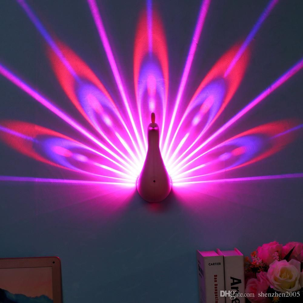 Creative Led Peacock Light Wall Lamp Remote Controlled Bedroom Background Decor Romantic Peacock 3d Led Projecti Wall Lamp Led Night Lamp Night Light Projector