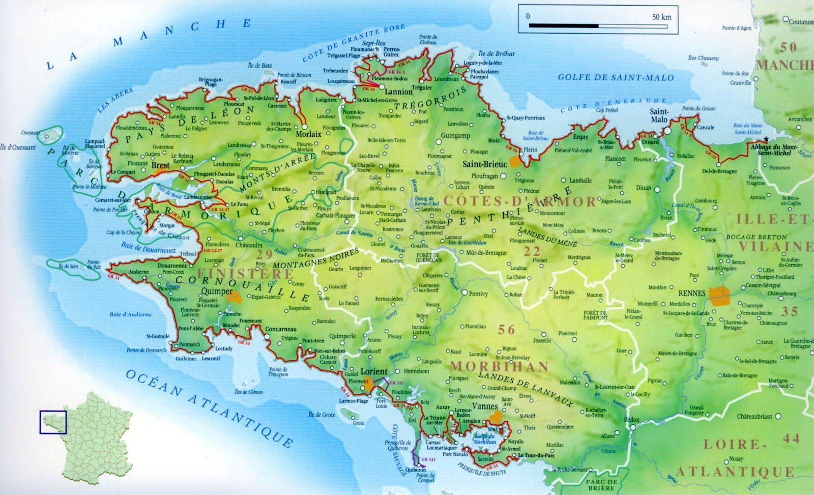 Carte Finistère | Toutes les cartes | Pinterest