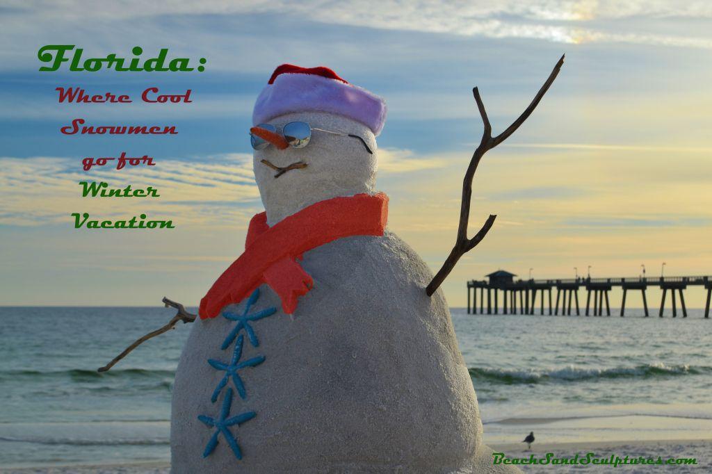 Snowman takes Florida Winter Vacation