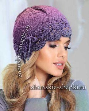 Вязание шапки с кружевом | Bonnet crochet, Chapeau crochet ...