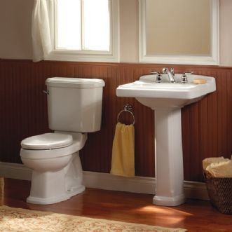 American Standard Portsmouth Pedestal Sink Linen 8 Faucet Holes