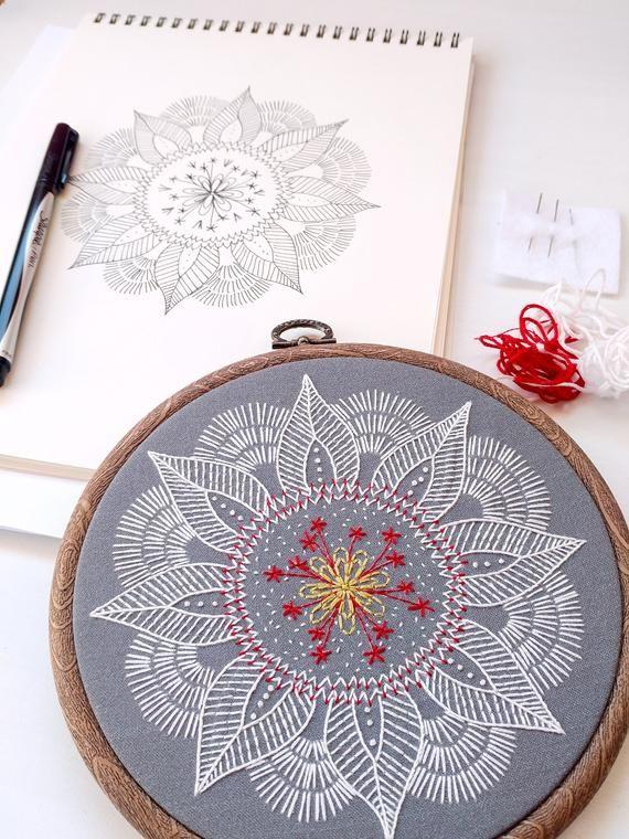Photo of AUTUMN MANDALA – pdf embroidery pattern, embroidery hoop art,leaf mandala, winter vibes, meditative stitching, embroidered mandala