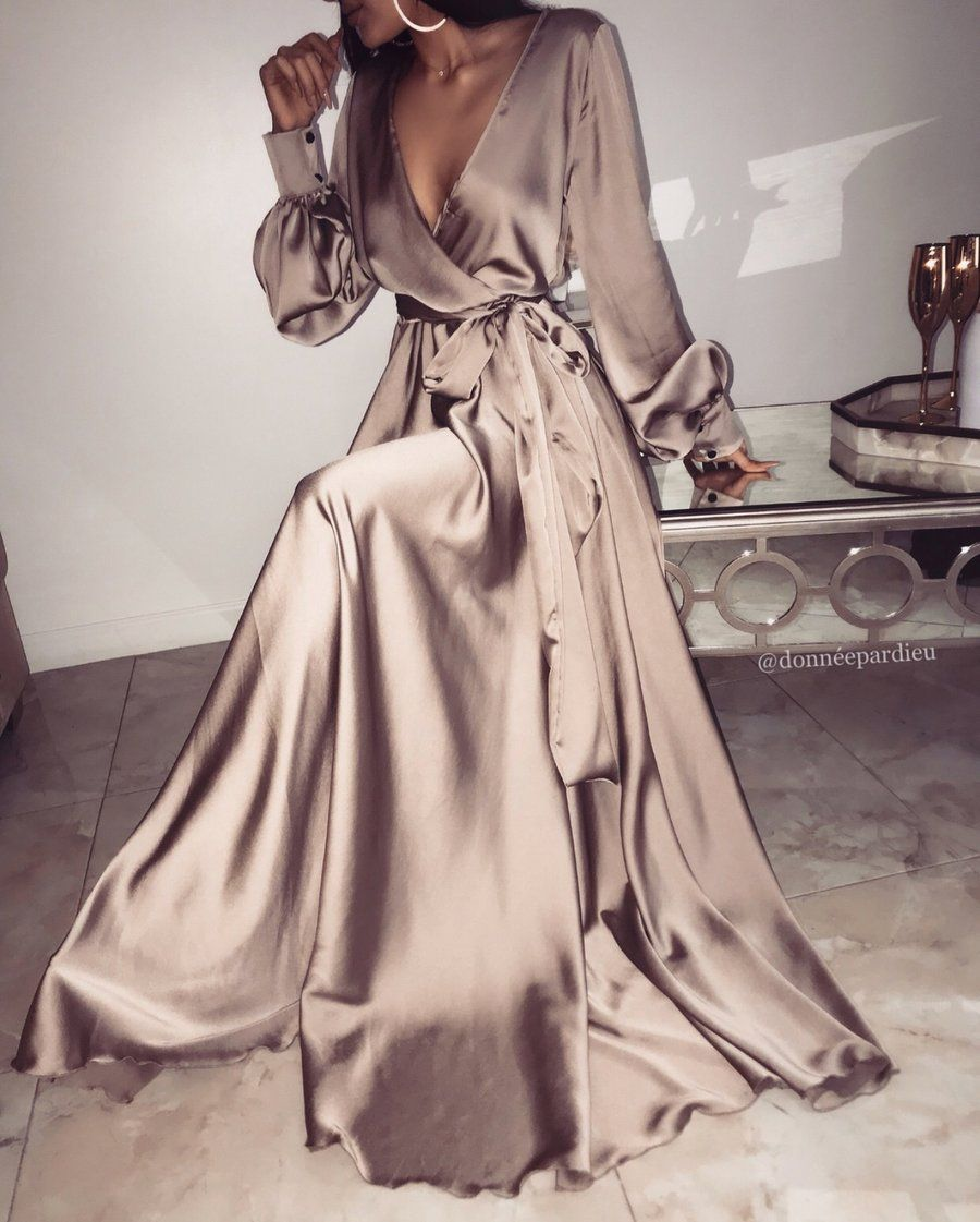 Champagne Dream Satin Gown In 2021 Satin Gown Long Prom Dress Prom Dresses Long With Sleeves [ 1121 x 900 Pixel ]